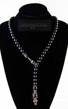 Handmade Herren Damen Black Onyx Matt Halskette Rosenkranz  Edelstahl Necklace