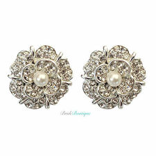 Vintage Style Flower Silver Crystal Diamante & Pearl Stud Earrings
