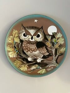 Vintage Thelma Winters MCM Owl Hand Painted Enamel on Copper Plate Signed