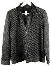 Cardigan Black Size 12 by BEE Sheer Mesh Inserts Collared Waffle