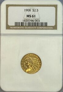 NGC MS61 1908 $2.5 Indian Head Gold Coin.! BU.!