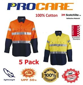 5 x Hi Vis Work Shirt + vents cotton drill ProCare CR 3M ref Tape Long Sleeves