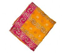 BEAUTIFUL VINTAGE INDIAN DUPATTA LONG SCARF FLORAL HEAVY EMBROIDERED VEIL STOLE