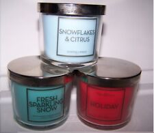 Bath & Body Works Sparkling Snow, Holiday and Snowflakes Citrus Candle Set