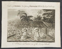 1787 Bankes Antique Print Island of Tahiti Dancing Girls - Cooks 3rd Voyage 1777