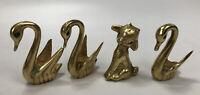 Set of 4 VTG Mid-Century Solid Brass Swan & Lamb Figures Emerald Green Eyes AA