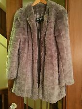 NWT Lord and Taylor faux fur winter coat jacket light grey plush M $298