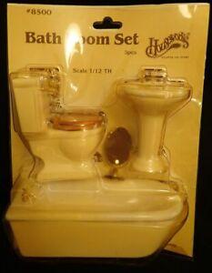 Vintage Houseworks 4 Piece Porcelain BATHROOM DOLLHOUSE FURNITURE Set