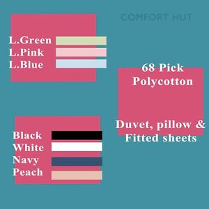 Fitted Sheet 68 Pick Polycotton Plain Dyed Bed Sheets Single Double King
