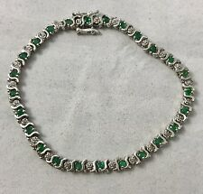 1.25 TCW Natural Emerald & Diamond Accent 14K White Gold 7.25 inch Bracelet