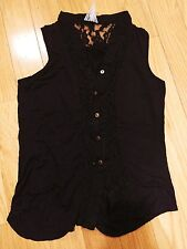 Womens Mauve sleevless solid black blouse button up lace small