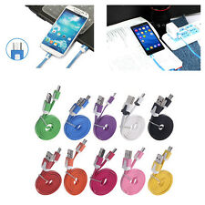 Flat Noodle Micro USB Ladegerät Sync Data Kabel Cord for Samsung Phone 2m