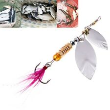 Spoon Metal Fishing Lure Sequins Spinner Baits Feather Fishhook Tackle Accessory