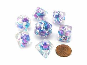 Pearl Resin 16mm 7-Die Polyhedral Dice Set - Gradient Purple Teal with White