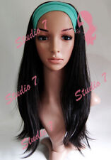 W53 Jet Black 3/4 Hair Fall Long Straight Half Wig Clip In Hair Piece studio7-uk