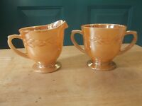 Fire-King Anchor Hocking Peach Lustre Luster Laurel Glass Creamer and Sugar Bowl