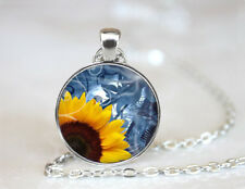 Vintage Sunflower Yellow Tibetan silver Dome Glass Art Chain Pendant Necklace