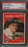 1959 Topps #10 Mickey Mantle - HOF - Yankees - PSA 5 - EX - 02148663 - (SCA)