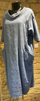 Lagenlook Designed & Made In Italy Lady's Cotton Pocket Tunic Dress 1Size 10-20