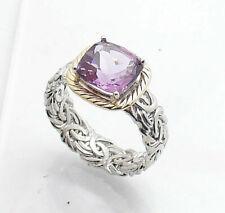 Sterling Silver & 14k Gold Amethyst Ring Sz 7