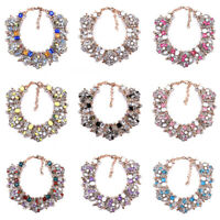 Women Crystal Chunky Pendant Statement Choker Bib Necklace Jewelry Gift