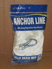 "NEW 3/8"" x 50' Anchor Line Solid Braid White Boat Rope Anchorline Stearns G209"