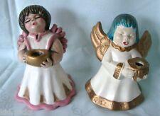 Bozner Thun Engel 2 Keramik Weihnachtsengel 15 cm weiß/rosa - 14 cm weiß/türkis