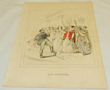 1844 Antique Grandville COLOR Print/LADIES WILLING TO DIE, NOT DISHONORED