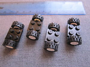 Lego Car Items 8 x Small White Wheels with Black Tyres + 4 x Black Axle Plates