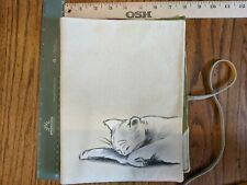 """New listing New Cotton / Suede Cat Sketch Hand Painted (?) lined iPad tablet cover 8"""" x 10"""""""