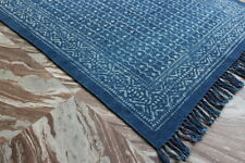 India Hand Block Print Dari Rug Cotton Kilim Rug Carpet Area Rug Home Rug 3x5F 0