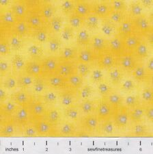 Fabulous Felines Laurel Burch Cat PAW PRINTS YELLOW Fabric By the FQ - 1/4 YD