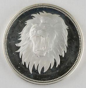 Yemen 1969 Lion Mahmud Azzubairi 2 Riyals 25 Gram Silver Proof Coin GEM KM#4