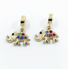 2pcs Elephant European Gold Pendant CZ Charm Beads Fit Necklace Bracelet DIY
