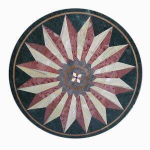 "36"" Semi Precious Stone Inlay Handicraft art Work Green Marble Table Top"