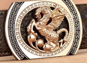 MENS DIAMONDS BELTS DESIGNER 3D HORSE 38MM CROC LEATHER REVERSIBLE BELT S M L XL