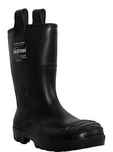 MENS GRAFTERS FULL SAFETY WATERPROOF FUR LINING BLACK RIGGER WORK BOOTS WELLIES