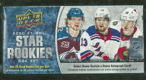 New Sealed 2020-21 NHL Hockey Star Rookies Upper Deck 25 Card Box Set