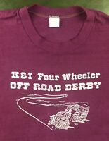 Vintage Mens L 80s Four Wheeler Off Road Derby Racing Graphic Red T-Shirt