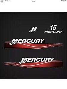 Mercury 15hp Red 2 Stroke Decals