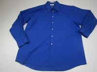 Van Heusen Button Up Shirt Adult 2XL XXL Blue Long Sleeve Casual Wrinkle Free