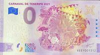 BILLET 0  EURO CARNAVAL DE TENEREFIE ESPAGNE  2021 NUMERO DIVERS