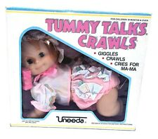 vtg Uneeda Baby Girl Tummy Talks Crawls Doll Giggles Cries