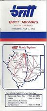 Britt Airways system timetable 7/1/82 [6011] (Buy 2 get 1 free)
