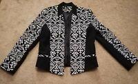 Miss Selfridge Black & White Patterned Blazer Jacket Uk Size 14