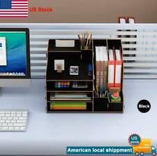 Desk Organizer Desktop Storage Rack Wood Home Letter Tabletop Rack Black
