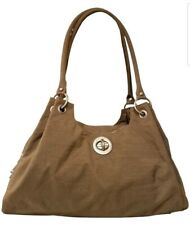 LARGE BAGGALLINI PURSE SATCHEL LIGHT BROWN NYLON PURSE + COIN POCKET