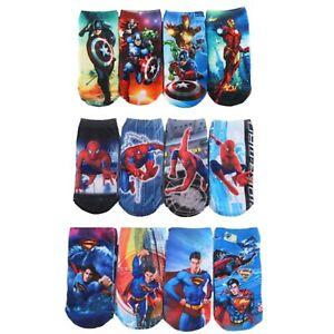 Boys Children 3 Pairs Marvel / DC Superhero Socks Iron Man Spiderman Superman UK