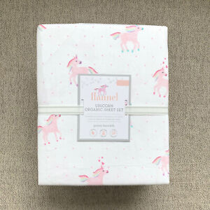 Pottery barn kids Organic Flannel Rainbow Unicorn Queen Sheet set Pink Horse