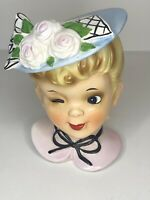 VINTAGE Enesco Japan WInking Lady Head Vase Short Hair Hat With Flowers
